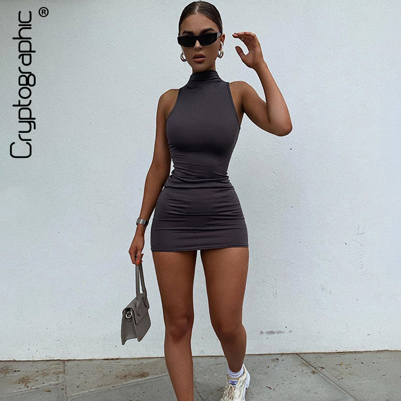 Cryptographic Sleeveless Casual Fashion Mini Dresses Skinny Summer 2020 Mock Neck Women Bodycon Dress Streetwear