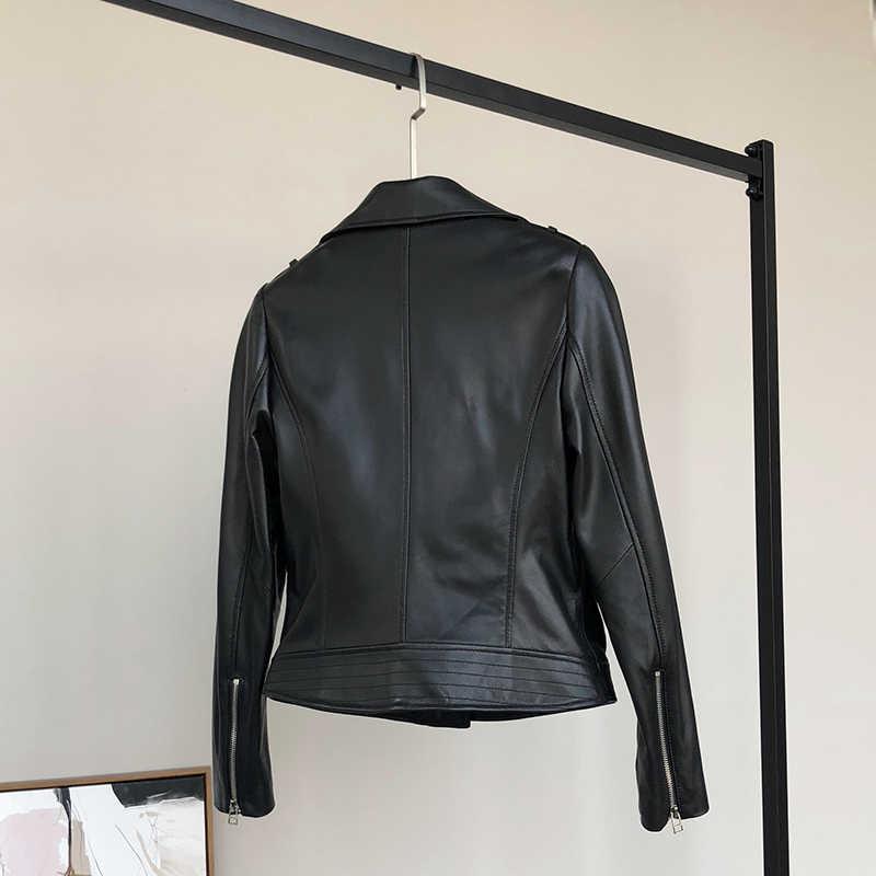 Nerazzurri czarna skórzana kurtka biker kobiety z długim rękawem skórzana kurtka kobiety miękka moto kurtka moto rcycle faux leather topy kobiety