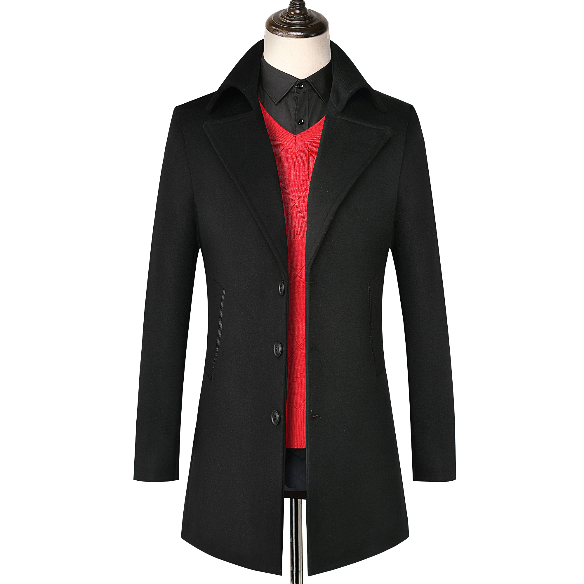 Mens   Trench   Coat 2019 New Fashion Men Long wool Coat Autumn Winter single-breasted Windproof Slim windbreaker classic   Trench   Coa