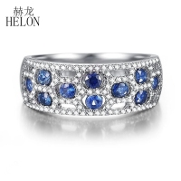 HELON Solid 10k White Gold Round 1.25CT Genuine Sapphires & Natural Diamond Gemstone Ring Women Wedding Trendy Fine Jewelry Ring