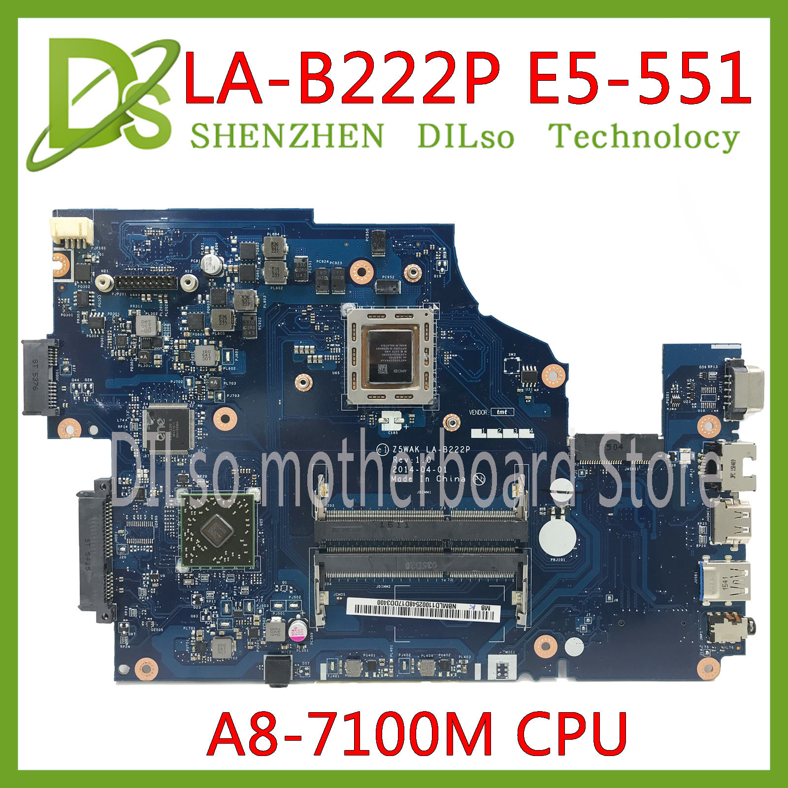 KEFU E5-551 LA-B222P Mainboard For Acer E5-551 E5-551G Laptop Motherboard  A8-7100M Z5WAK Test Work 100% Original
