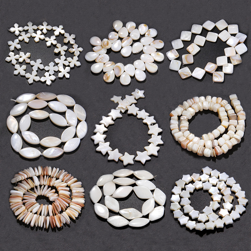 Natural White Mother Of Pearl Shell Beads Loose Flat Oval Teeth round star Nugget Freshwater Shell Chip Charms beads For Jewelry(China)