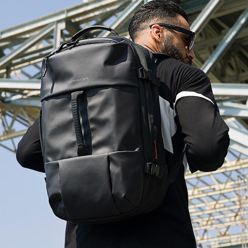 Tangcool Fashion Men Travel Backpack Large Capacity Male Mochila  Waterproof Bag USB Charging 17.3 Inch Laptop Backpack