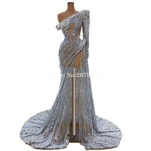 Image 2 - מבריק 2020 בציר נדן שמלת ערב באורך רצפת חרוזים פאייטים פורמליות שמלת חלוק דה Soiree Aibye Vestido דה festa דובאי
