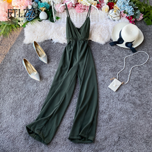 Women Vintage Playsuit Rompers 2020 New Summer Sexy V-neck Beach Jumpsuits Fashion Spaghetti Strap Hollowing Out Overalls Mujer