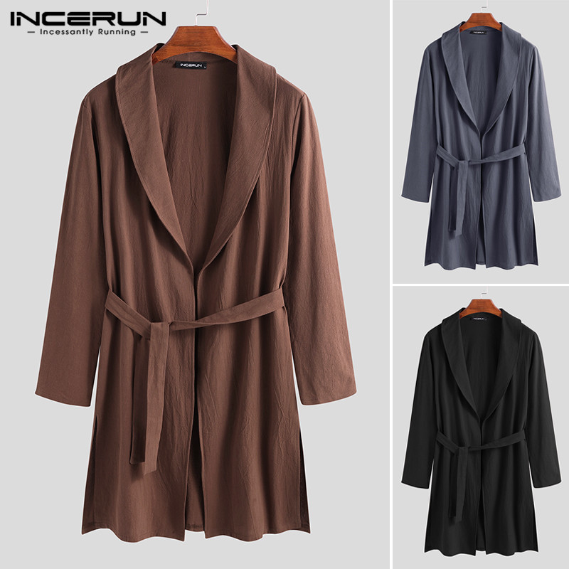 INCERUN Men Robes Cotton Solid Color Long Sleeve Fitness Casual Long Bathrobes Vintage Lapel Kimono Men Homewear Pajamas S-3XL