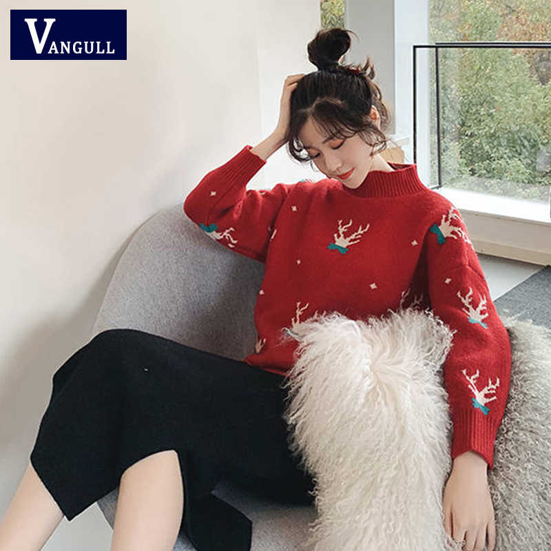 Vangull Red Christmas Sweater Classic Deer Printed Half-Turtleneck Xmas Knitted Pullover Women Loose Tops Lady Winter Warm Femme