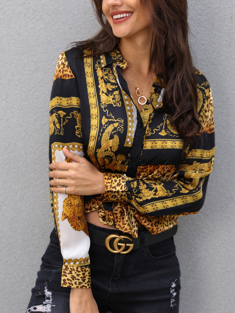 2019 Spring Women Elegant Party Loose Button Shirt Turn-down Collar Female Leopard Print Knot Front Long Sleeve Blouse 3