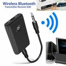 2で1 bluetooth 5.0トランスミッタレシーバテレビpc車のスピーカー3.5ミリメートルauxハイファイ音楽オーディオアダプタ/ヘッドフォンカー/ホームステレオ機器