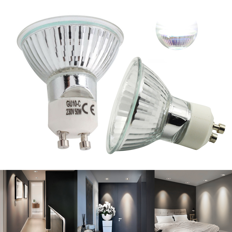 10Pcs/Lot 2019 Hot Selling Durable Halogen GU10 Bulb 220V 35W 50W Diameter Clear Glass With Cover Dimmable Warm White Spot Lamp