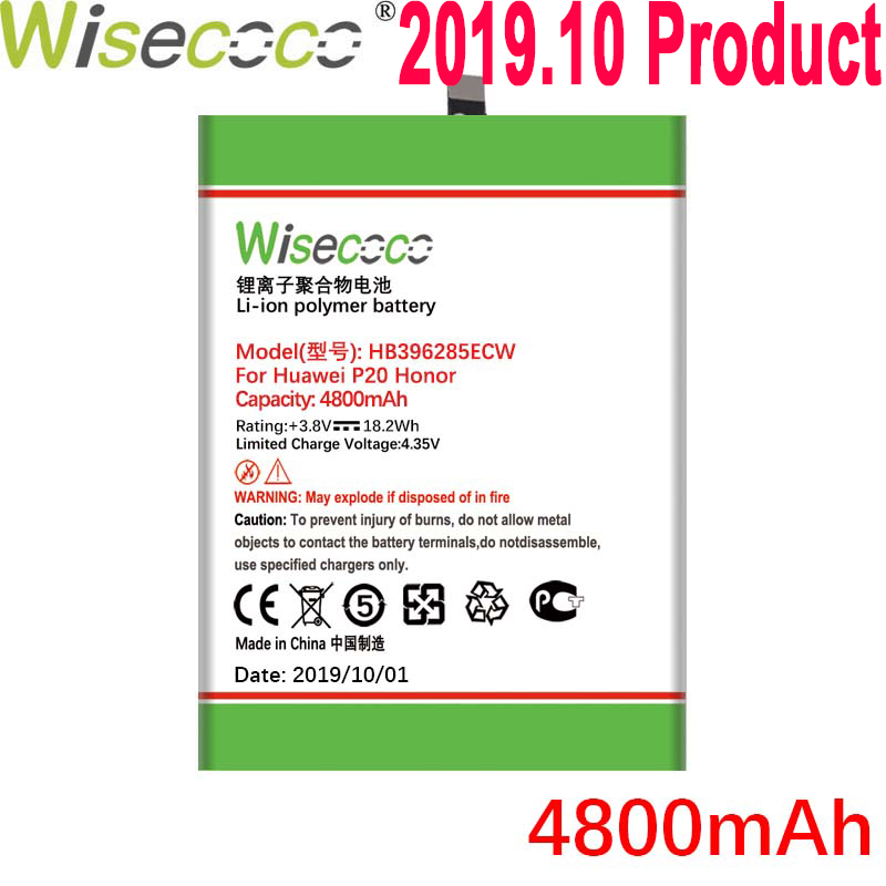 Wisecoco 4800mAh HB396285ECW <font><b>Battery</b></font> For <font><b>Huawei</b></font> <font><b>P20</b></font> For Honor 10 COL-AL00 COL-AL10 COL-TL00 COL-TL10 COL-L29 Phone+Tracking Code image