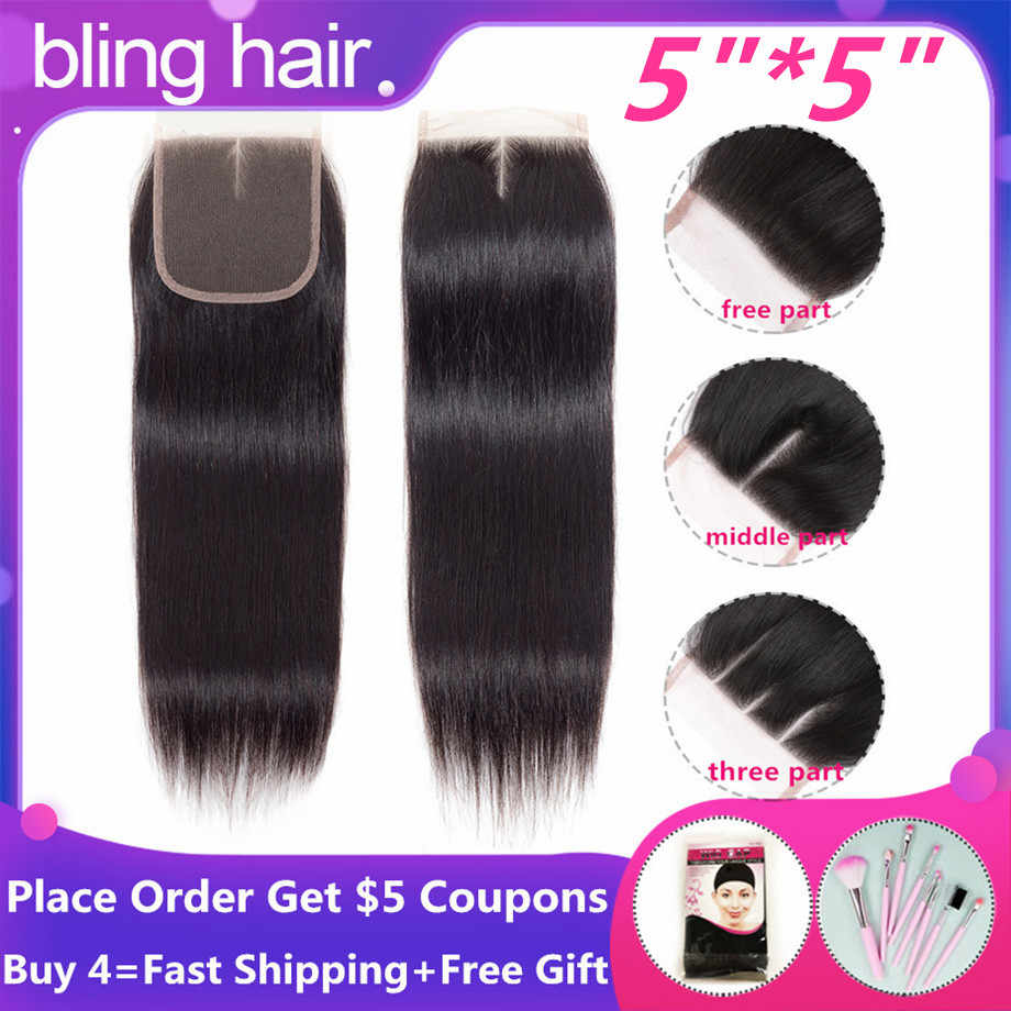 Bling Hair 5x5 Brazilian Straight Closure With Baby Hair Free/Middle/Three Part 100% Remy Human Hair Closure Natural Color 8-22""