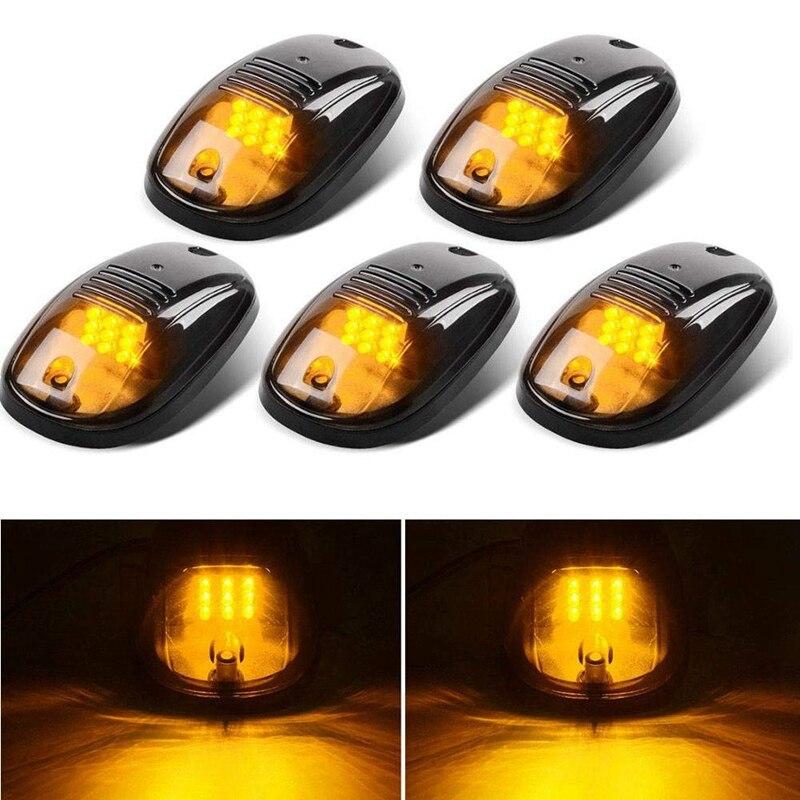 5Pcs 12-LED Car Cab Roof Marker Lights for Truck SUV LED DC 12V Black Smoked Lens Lamp Car External Lights