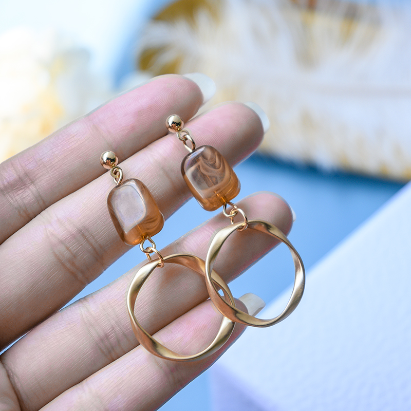 New Fashion Korean Acrylic Drop Earrings for Women Brown Statement Matte Gold Small Hanging Dangle Earings 2020 Wedding jewelry