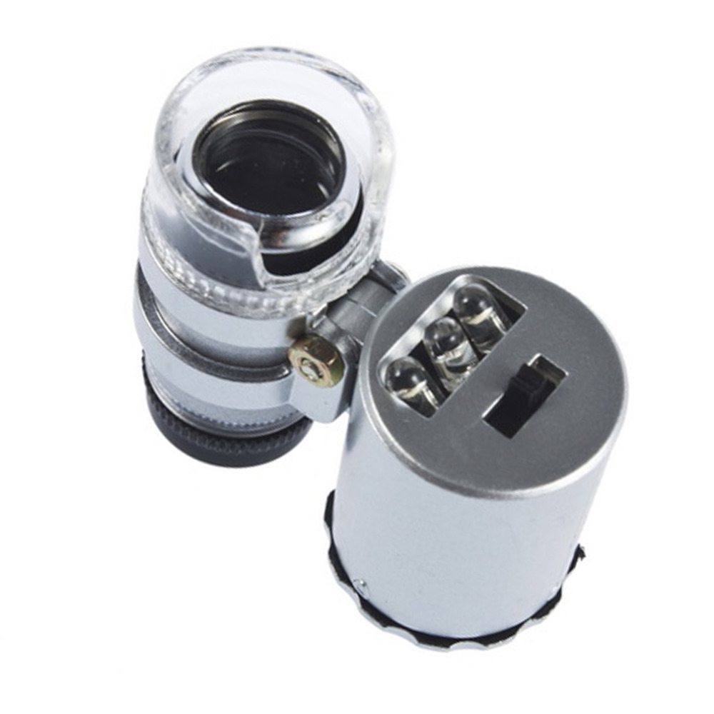 Jewelry Loupe Mini 60X Zoom LED Lighted Magnifier Microscope Micro Lens Microscope 60X