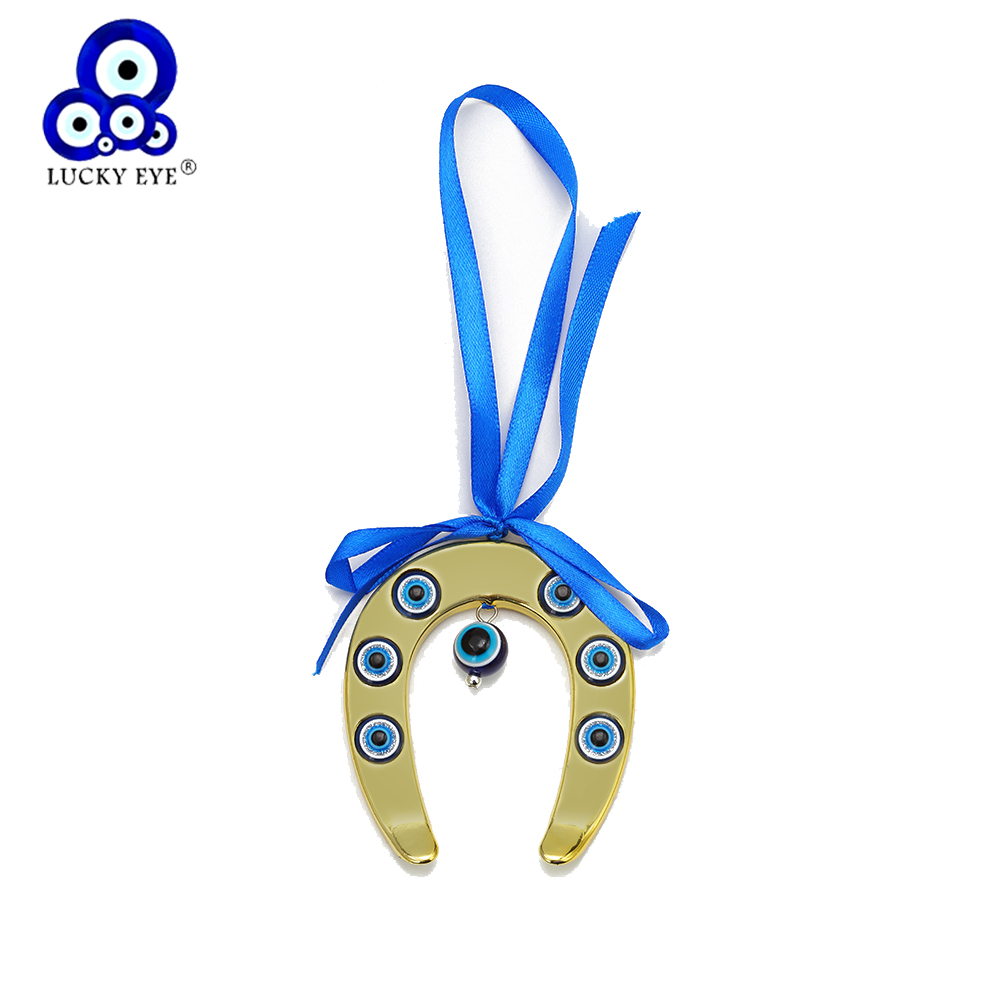 Lucky Eye Horseshoe Keychain Car Keyring Gold Color Turkish Evil Eye Key Chain Wall Hanging Jewelry Gifts For Women Men EY6599