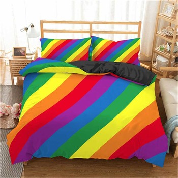 WOSTAR 3d Rainbow Stripe Printed Comforter Bedding Sets Modern Geometric Twin Queen Size Polyester Duvet Cover For home decor 1