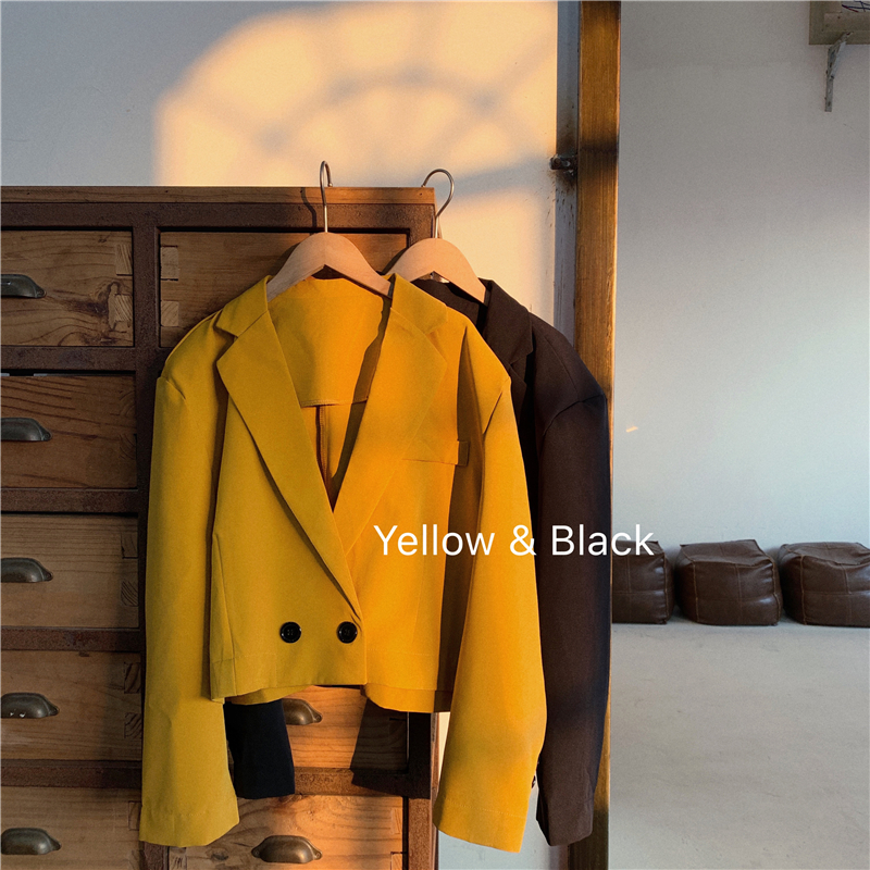 Cropped Blazer Vintage Yellow Jacket Women Short Blazer 2020 Spring Office Casual Double Breasted Padded Shoulder Overcoat