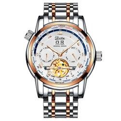 Męskie zegarki Top Luxury Brand zegarek szkieletowy z tourbillonem automatyczny zegarek mechaniczny mężczyźni ze stali nierdzewnej wiele stref czasowych zegarek na rękę Zegarki mechaniczne Zegarki -
