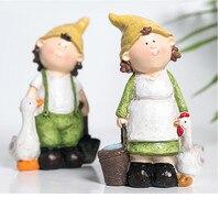 Nordic Style Creative Anime Cartoon Boy And Girl Statue Resin Crafts Dwarfs Figure Art Sculpture Home Decoration R2942