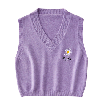 Autumn Winter Sweater Vest Women V-Neck Knitted Letter Flowers Printed Female Sleeveless Loose Knit Pullovers