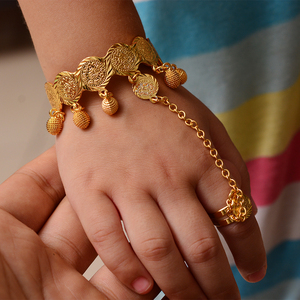 Gold color Coin Bangle For Girl babay Bracelet Islam Muslim Arabic Currency Money Gold Middle East African Jewelry birthday Gift(China)