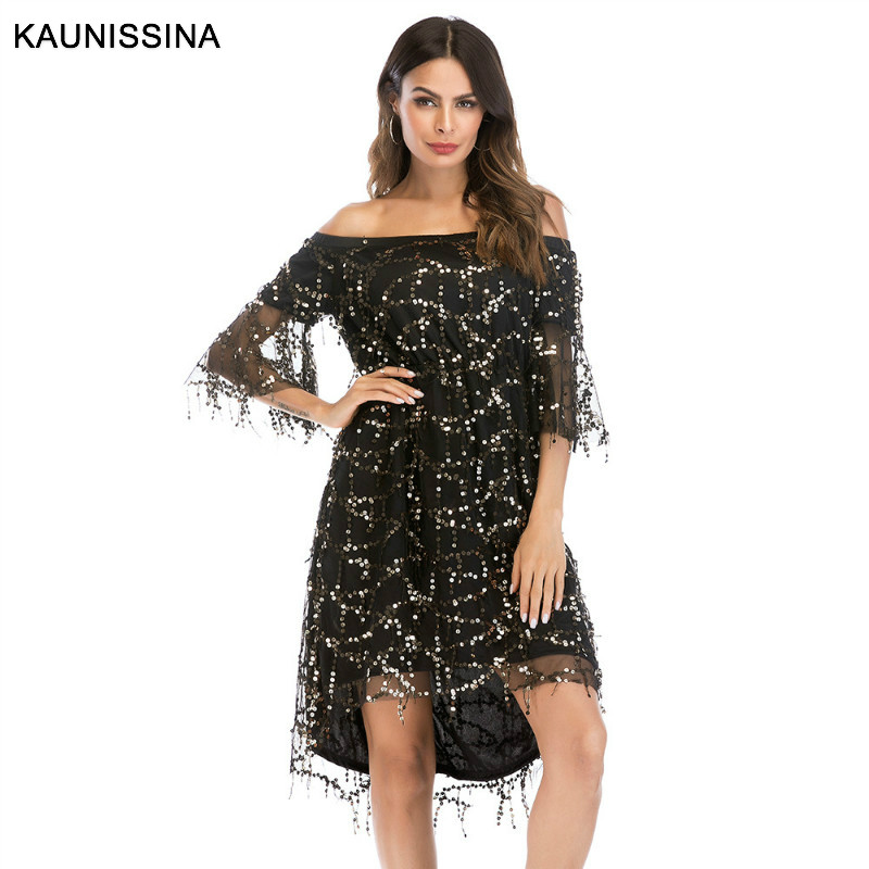 KAUNISSINA Off The Shoulder Sexy Cocktail Gown Tassel Party Dress 3/4 Flare Sleeve Club Wear Formal Prom Cocktail Dresses