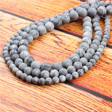 Frosted Map Stone Natural Stone Bead Round Loose Spaced Beads 15 Inch Strand 4/6/8/10/12mm For Jewelry Making DIY Bracelet