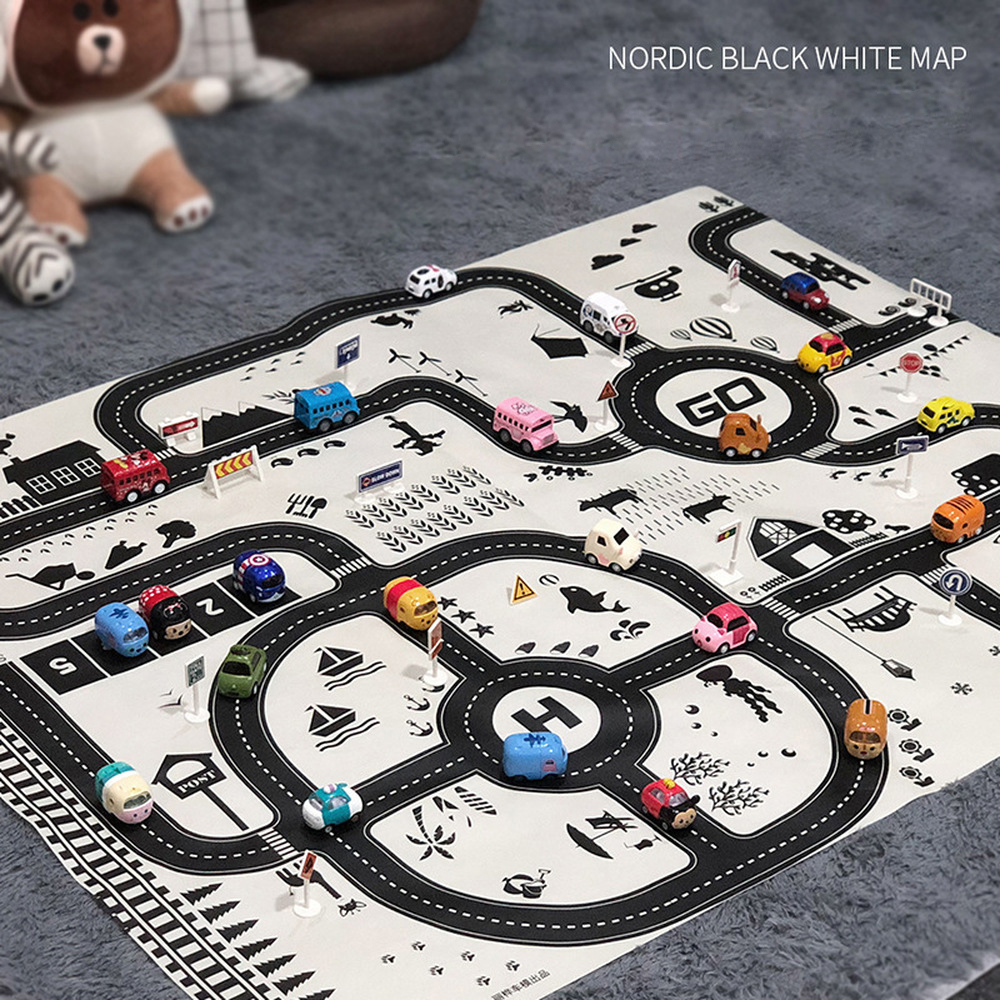 130*100CM Large City Traffic Car Park Play Mat Non-woven Waterproof Kids Car Playmat Toys For Children's Mat Boy Car N2150N10