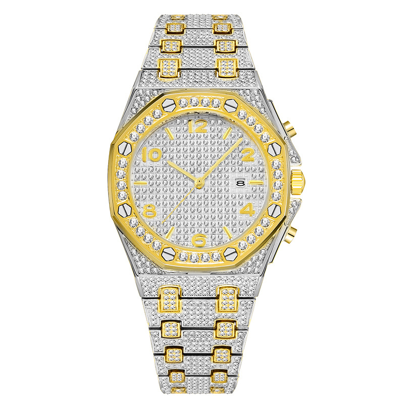 luxury mens business watches full diamonds ice out watch hip hop quartz watch for men 18k gold plated waterproof auto date male clock man drop shipping for shopify 2020 (22)
