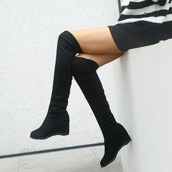 Sexy Over-the-buty do kolan buty damskie damskie buty zimowe kobieta zasznurować moda zamszowe wysokie buty na obcasie zakolanówki 41 42 43 tanie i dobre opinie GAOKE Kwadratowy obcas WESTERN flokowane CN (pochodzenie) Na wiosnę jesień Za kolana zipper Stałe ST889056 Cotton Fabric
