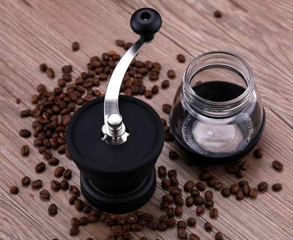 YRP Manuale di Ceramica Burr Coffee Bean Grinder con Fortificato Vaso Di Vetro di Stoccaggio Durevole Cafe Mulino Fagiolo Caffè Utensili Da Cucina