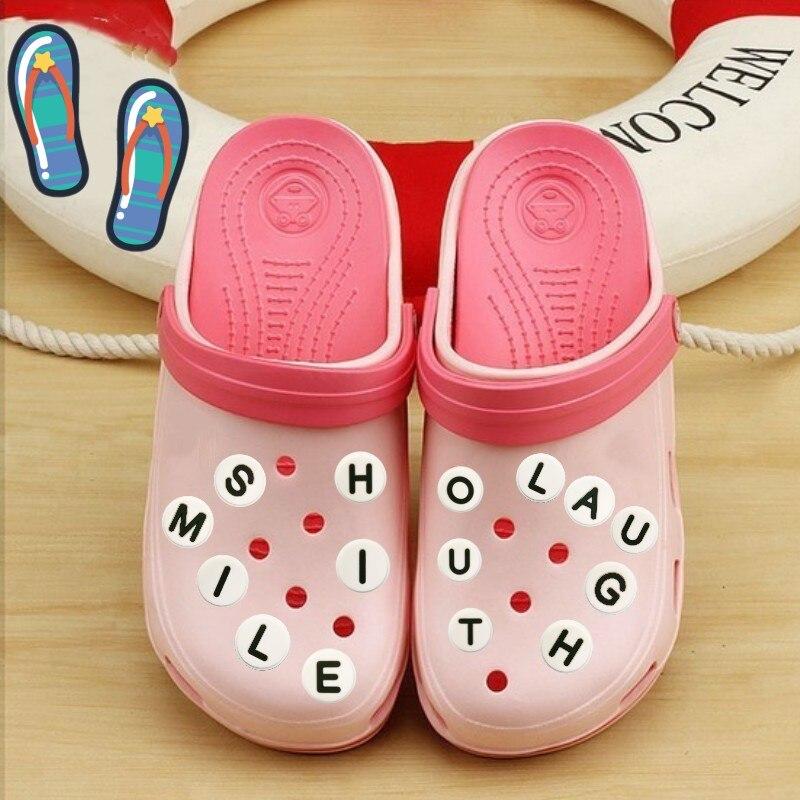 1pcs 26 English Letters PVC Shoe Charms Free Combination Shoes Accessories Shoe Buckles Croc Decorations JIBZ Kids Gift