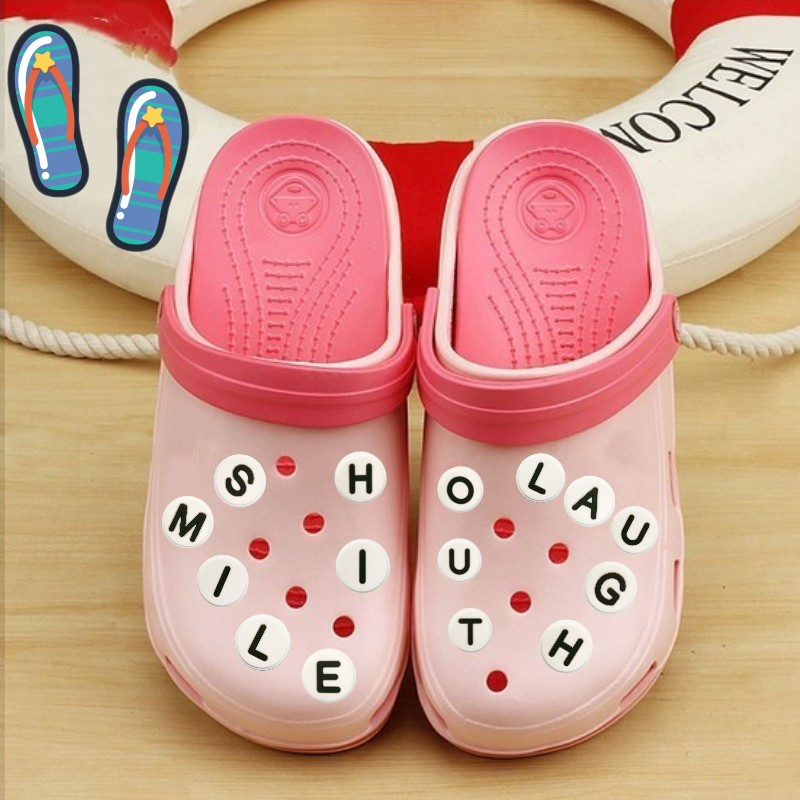 1pcs Black&White PVC Shoe Charms Free Combination Shoes Accessories 26 English Letters Shoe Decor Croc Charms JIBZ Kids Gift