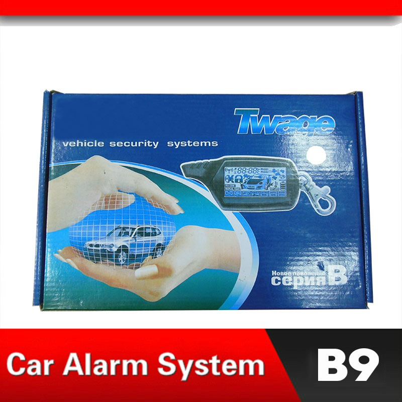 Système d'alarme de voiture Version russe alarme bidirectionnelle pour B9 avec démarrage du moteur LCD télécommande boîtier porte-clé pour B9