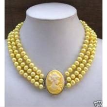 3Row Yellow Pearl Necklace Cameo Beauty Clasp (A0329)(China)