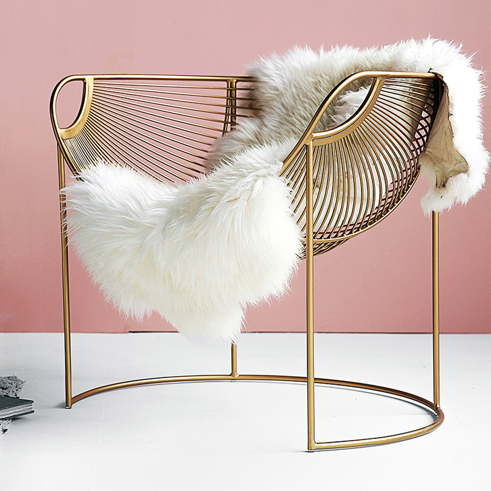 Nordic Single Iron Sofa Chair Leisure Creative Simple Hollow Gold Ins Chair American Simplicity Luxury Livingroom Chairs Muebles