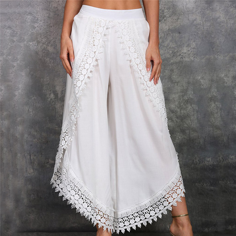 Lady Wear Mori Girl Elastic Waist Lace Crochet Wide Leg Pants Calf-length Cotton Trousers Hippie Boho Women Capris Pants
