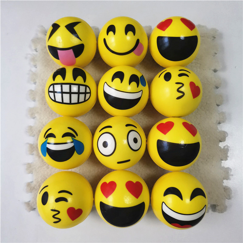 Anti Stress Ball Relief Yellow Expression Big Smile Kiss Face PU Foam Balls Rehabilitation Toys 63mm 12pcs