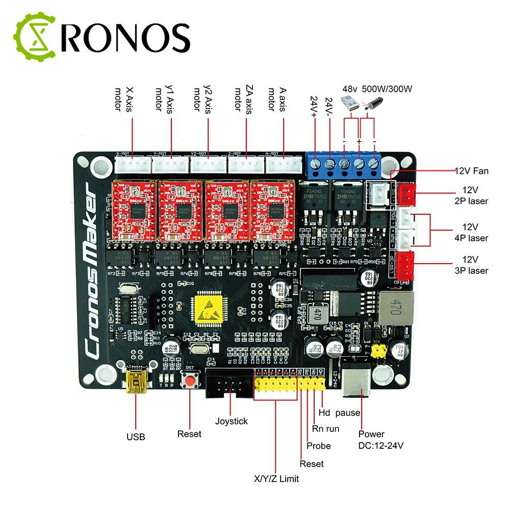 New GRBL 4Axis Stepper Motor Controller Control Board With Offline/300/500W Spindle USB Driver Board For CNC Laser Engraver