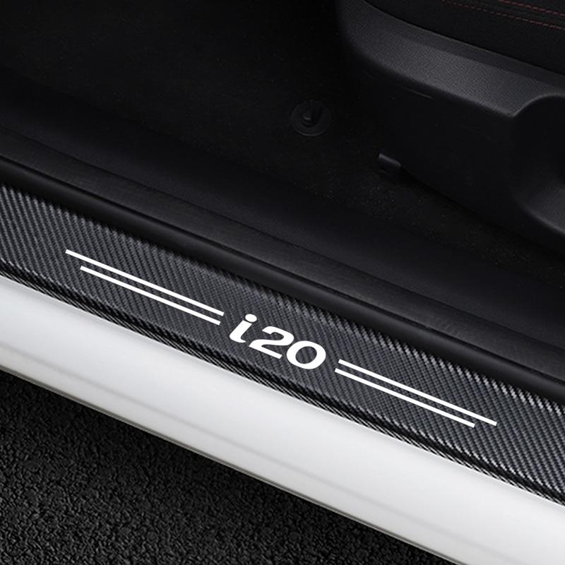 4 pièces voiture porte plaque éraflure Protection porte étape décoration autocollants pour Hyundai i20 en Fiber de carbone seuil de porte protecteur accessoires