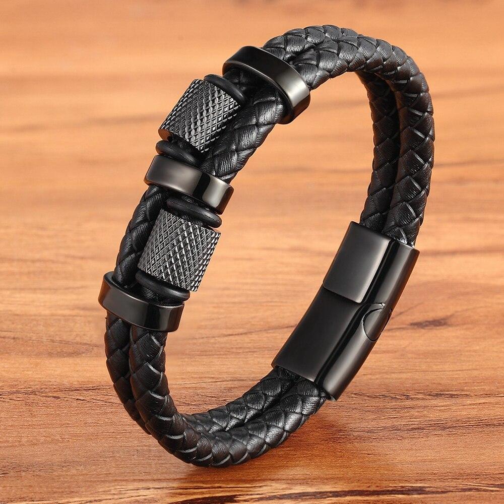 Irregular Pattern Shape Men's Fashion Stainless Steel Leather Bracelet Custom 3 Colors Classic For Handsome Boys Birthday Gift