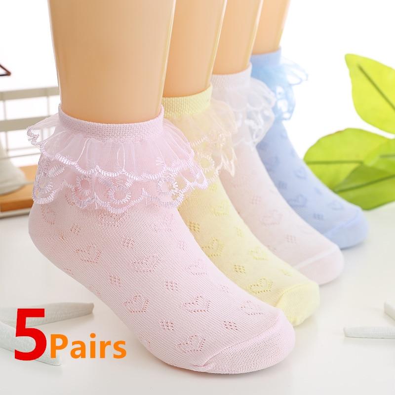 5 Pairs/Lot Girls Socks Summer Lace Ruffles Ankle Socks Cotton Baby Socks Trendy Elastic White Children Princess Socks