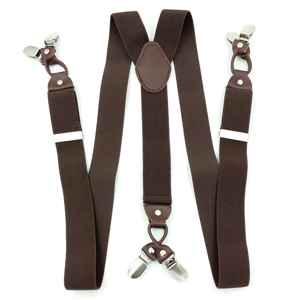 Male Vintage Casual Suspenders Commercial Western-style Trousers Man's Braces Strap Fashion Leather Alloy 6 Clips