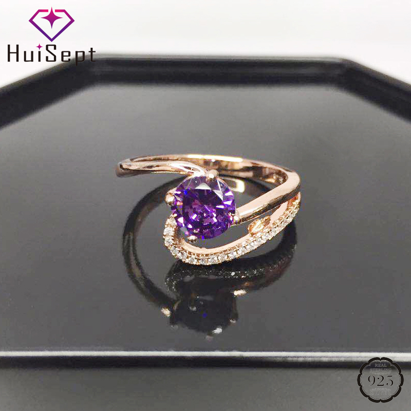 HuiSept Elegant Silver 925 Jewelry Ring for Women 7mm Round Shape Amethyst Zircon Gemstone Ornament Ring Wedding Party Wholesale