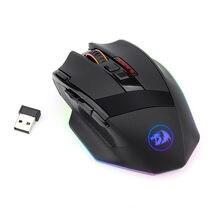 Redragon M801P 2.4G bezprzewodowy podwójny tryb myszy do gier LED RGB podświetlany MMO 9 programowalne przyciski myszy dla Windows gracz komputerowy