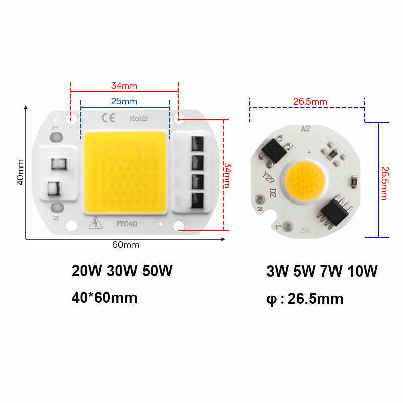 LED Chip No necesita controlador COB AC 220V 3W 5W 7W 10W 20W 30W 50W de alto brillo de ahorro de energía de reflectores de luz bombilla Chip