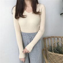 2019 New v-neck solid autumn winter Sweater slim Pullover Women Female Knitted sweaters Jumper long sleeve badycon sweater cheap цена и фото