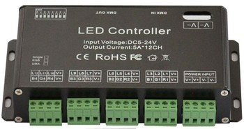 DMX 512 Decoder Led Controller LED Rgb Constant Decoder& Driver 12CH DC5V-24V for LED Strip Module Lamp 12channel 5A DC