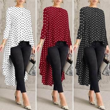 Stylish Printed Asymmetrical Tunic Women's Polka Dot Blouse ZANZEA Spring Long Sleeve Shirts Female Pleated Tops Oversized  5XL polka dot asymmetrical tankini set
